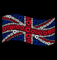 waving great britain flag mosaic of guard items vector image