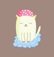 white kitten emotions stickers vector image
