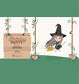 witch flying with wooden label invitation card vector image