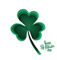 paper cut shapes with silhouette of shamrock and vector image