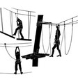 adventure silhouette people in rope park vect vector image