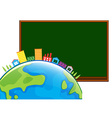 Blackboard and houses around the world vector image vector image