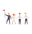 business people walking to goal for their leader vector image vector image