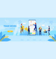 business people work together at huge smartphone vector image
