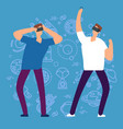 cartoon character men with virtual reality glasses vector image vector image