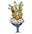 cartoon image of king with huge crown vector image vector image