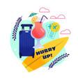 cartoon invitation for starting summer vacation vector image