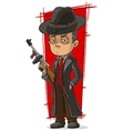 Cartoon mafiosi in black with gun vector image vector image