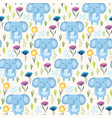 childish pattern with elephants grass and flowers vector image vector image