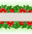 Christmas card with holly berry and poinsettia vector image vector image