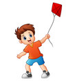 cute boy playing kite vector image