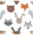cute cartoon pattern with forest animals heads vector image