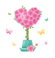 cute cartoon tree topiary rose flowers vector image vector image