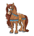 cute horse harnessed to a saddle isolated on white vector image vector image