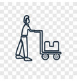 delivery man concept linear icon isolated on vector image