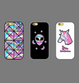 design cover for phone with holographic patches vector image