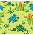 Dinosaurs walking in nature Seamless vector image