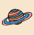 doodle cartoon hand drawn sketch planet saturn vector image