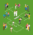family relations isometric flowchart vector image vector image