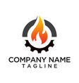 fire and gear logo template vector image vector image