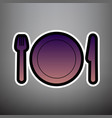 fork plate and knife violet gradient vector image vector image