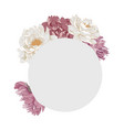 frame in form a circle with peony flowers vector image vector image