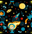 girl with friends on the moon cartoon style vector image