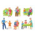 grandparents grandchildren spending time together vector image