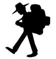 hiker walking silhouette vector image vector image