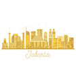 jakarta indonesia city skyline golden silhouette vector image vector image