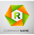 Letter R logo symbol in the colorful circle on vector image vector image