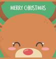 merry christmas celebration cute reindeer head vector image