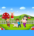 mother and kids on the farm with animal livestock vector image vector image