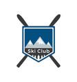 mounting skiing logo design vector image
