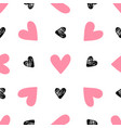 pattern with pink and black hearts vector image vector image