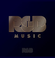 rb monogram music logo rhythm and blues emblem vector image vector image