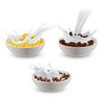 realistic breakfast cereals milk set vector image vector image