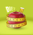 red fresh apple with yellow measuring tape diet vector image vector image