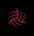 red volleyball ball colored silhouette vector image vector image