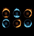 round frames with fire gas flames or circle rings vector image