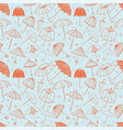 seamless pattern with red umbrellas on blue vector image vector image