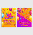 set flyers for carnival festival vector image