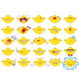 set of funny smileys emotions and mood on white vector image
