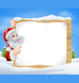 snow scene christmas santa sign vector image vector image