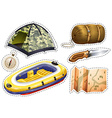 Sticker set of camping equipments vector image vector image