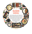 sushi menu banner with japanese cuisine icons set vector image