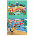 tropical summer beach flyer design set vector image vector image