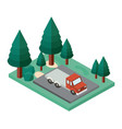 truck parking and trees scene isometric icon vector image vector image