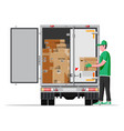 truck trailer loaded with cardboard boxes vector image