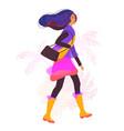 with stylized girl walking vector image